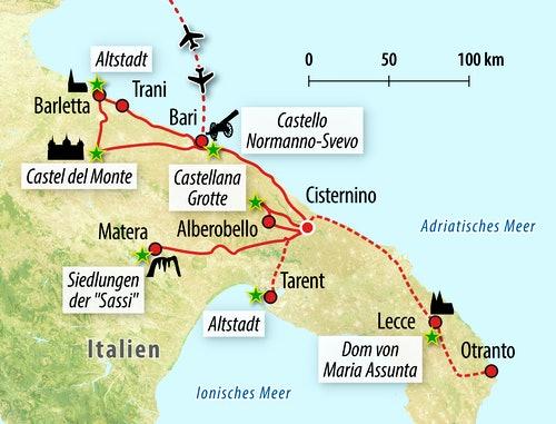 Ihre Reiseroute durch Apulien