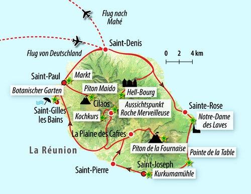 Ihre Reiseroute auf La Réunion