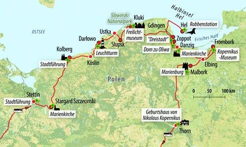 Ihre Reiseroute durch Polen