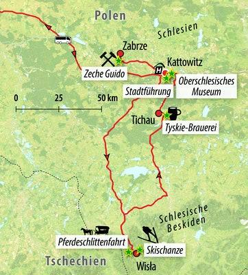 Ihre Reiseroute durch Schlesien