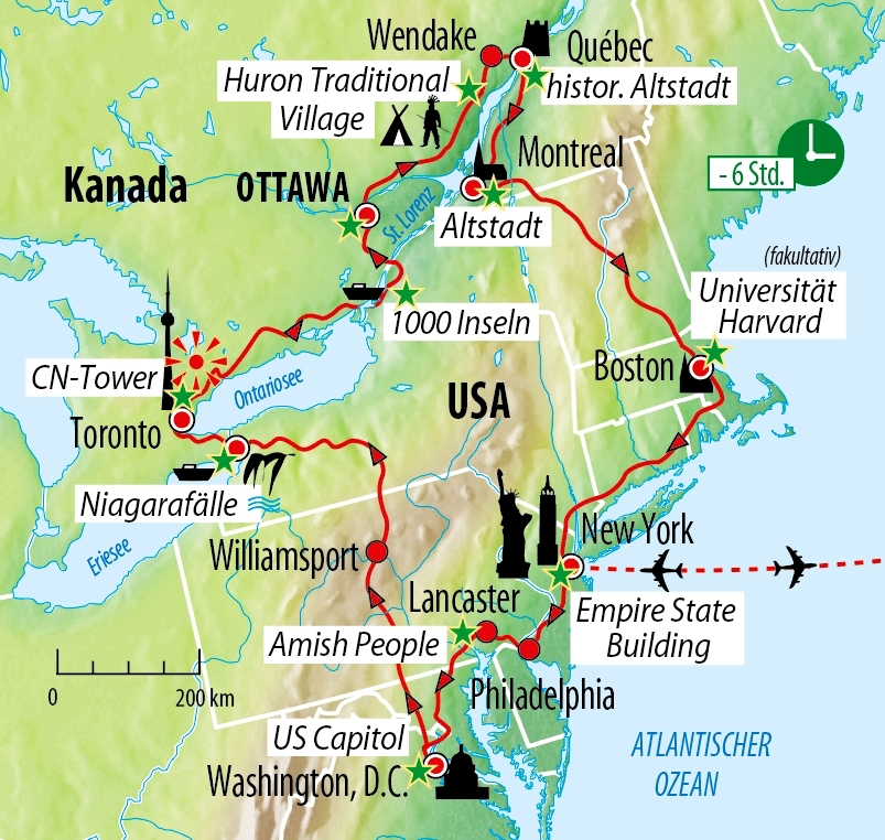 Montreal Altstadt Karte.Rundreise Entlang Der Ostkuste Der Usa Kanada