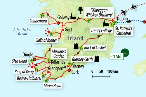Ihre Reiseroute durch Irland