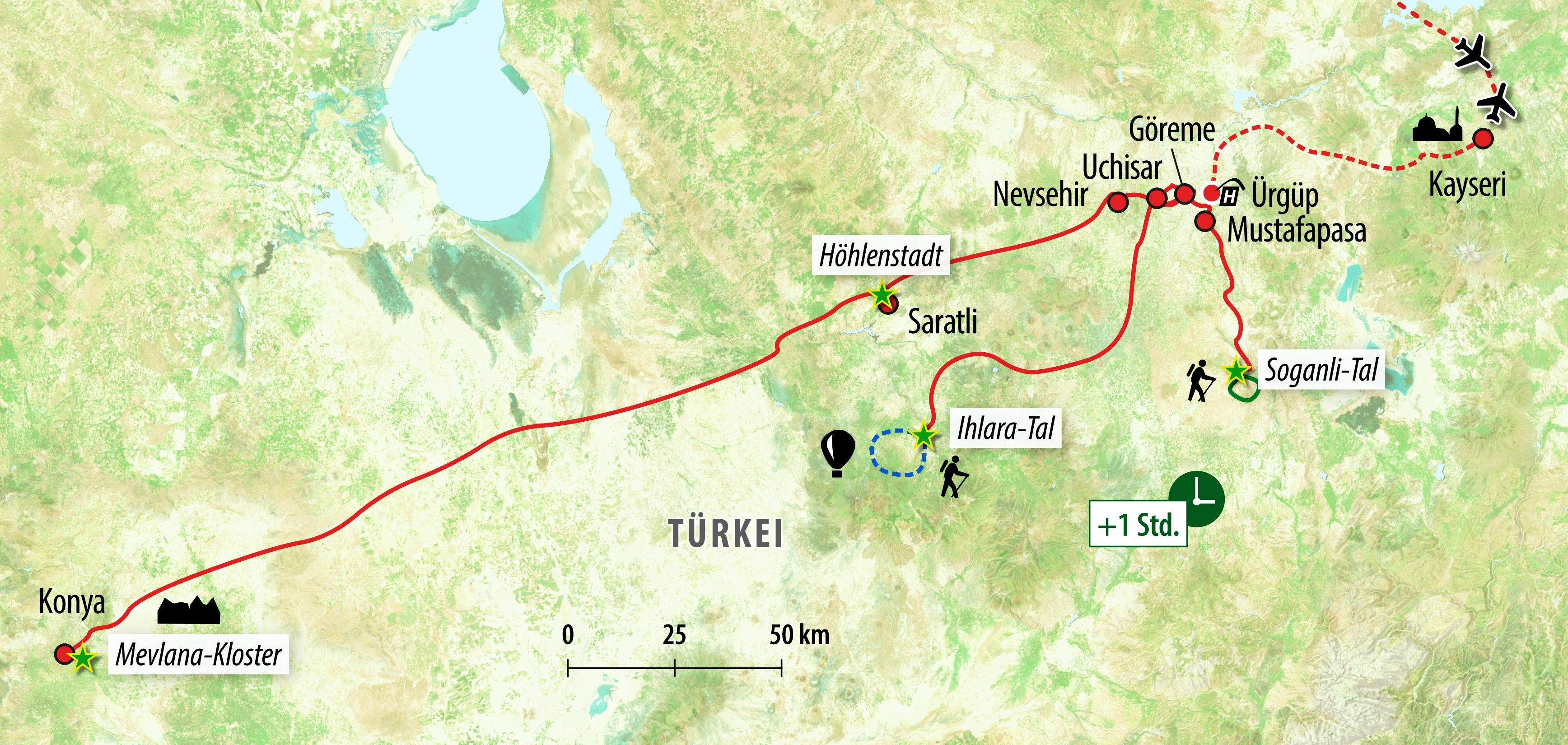 Karte Türkei Kappadokien.Wanderreise Türkei Kappadokien
