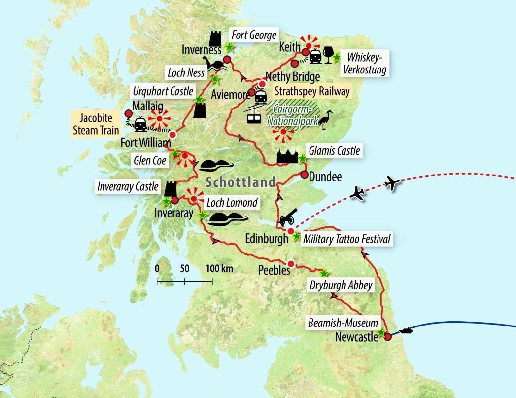 Schottland Karte Whisky.Zugreise Schottland