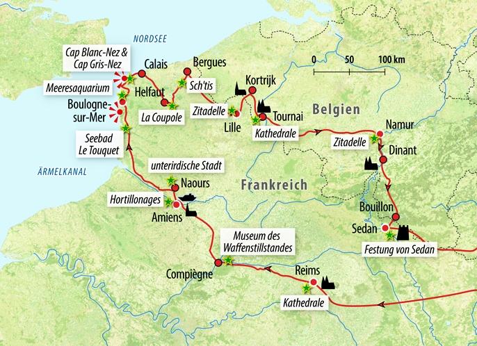 Nordfrankreich Karte.Rundreise Nordfrankreich Und West Belgien
