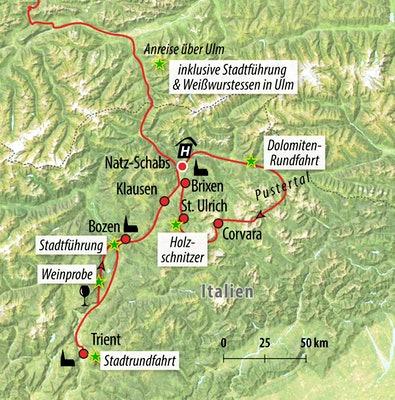 Ihre Rundreise-Route in Italien