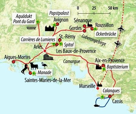 Camargue Karte.Rundreise Provence Die Richtige Reise