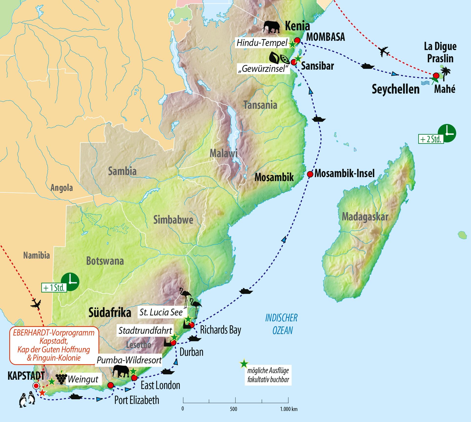 Seychellen Karte Afrika.Kreuzfahrt Südafrika Sansibar Kenia Und Seychellen Mit Ms Albatros